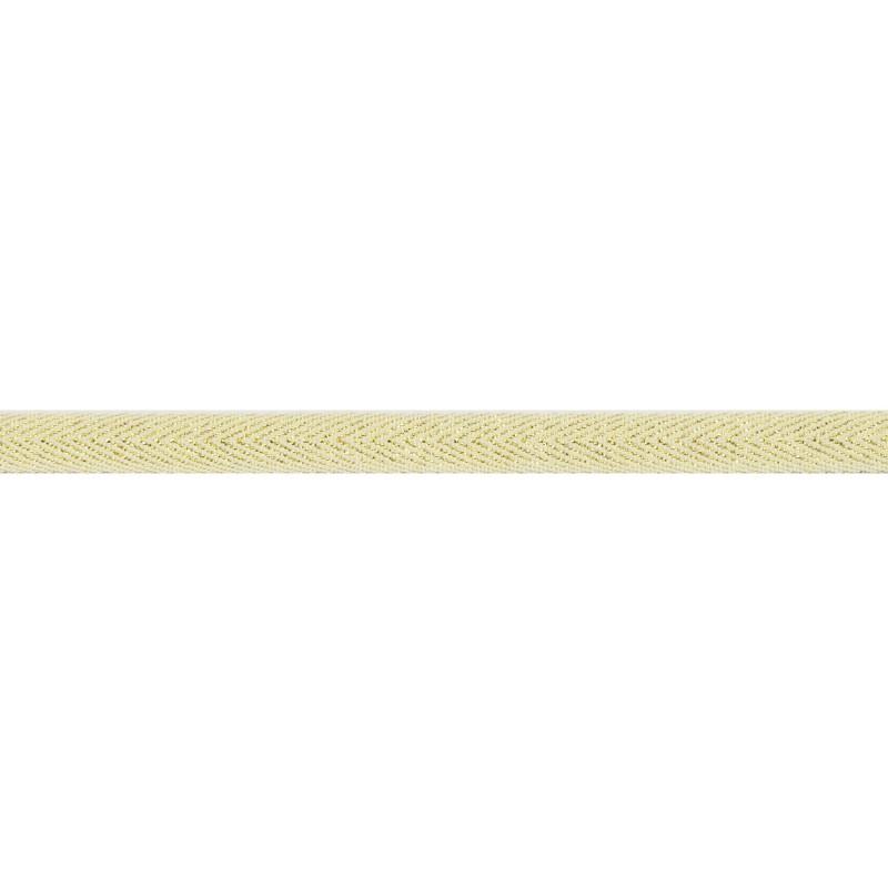 Тесьма 1 см киперная с люрексом 43-45м/рул, цв: молочный/золотой люрекс