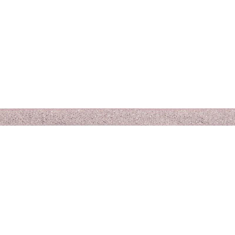 Тесьма 1 см киперная с люрексом 43-45м/рул, цв: св.розовый /2*серебряный люрекс