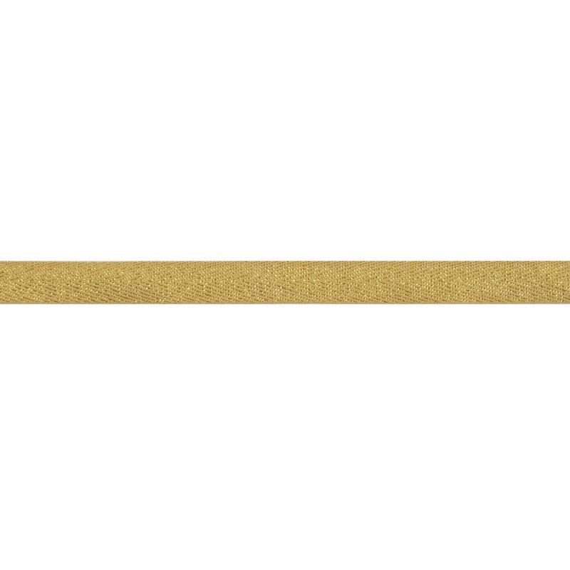 Тесьма 1 см киперная с люрексом 43-45м/рул, цв: охра/золотой люрекс