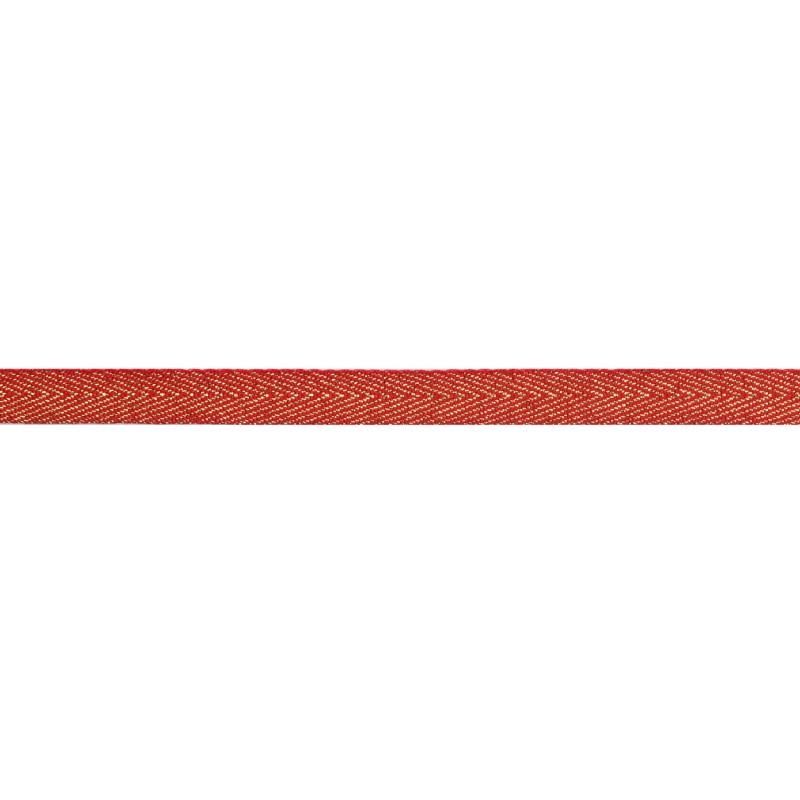 Тесьма 1 см киперная с люрексом 43-45м/рул, цв: красный/золотой люрекс