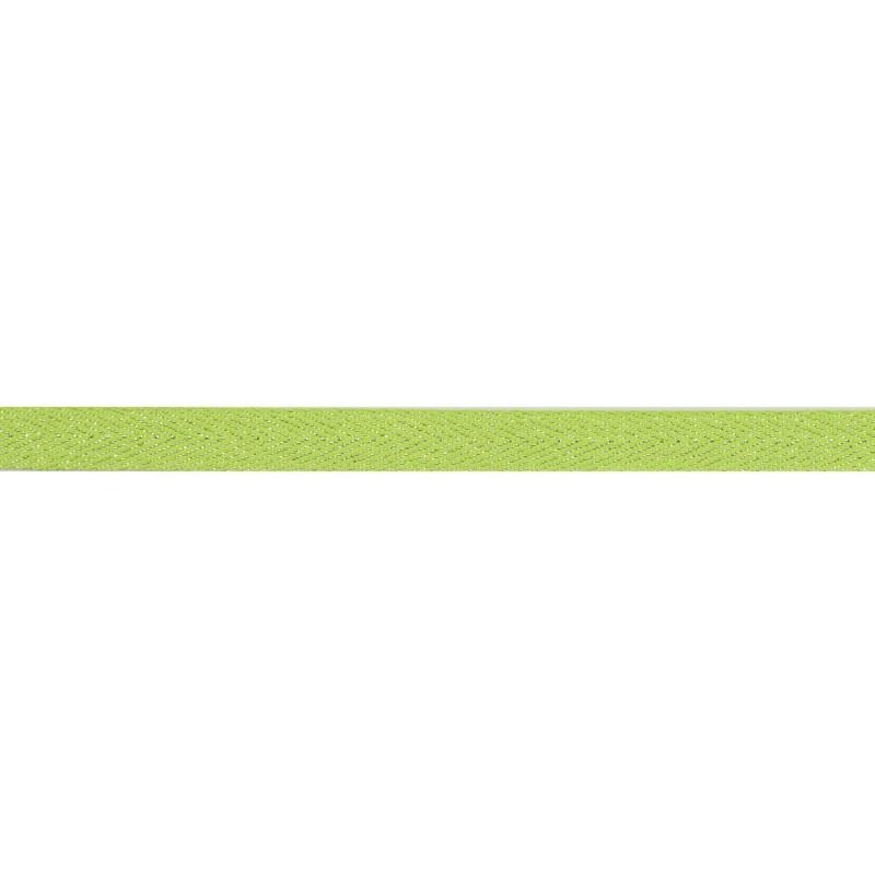 Тесьма 1 см киперная с люрексом 43-45м/рул, цв: зеленый/серебряный люрекс