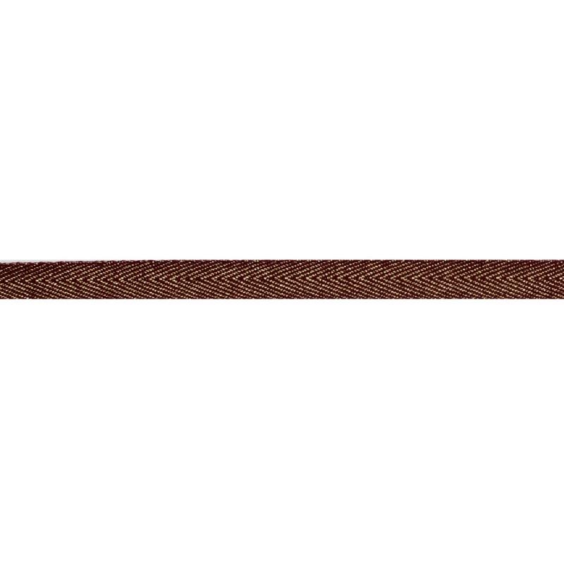 Тесьма 1 см киперная с люрексом 43-45м/рул, цв: коричневый/золотой люрекс