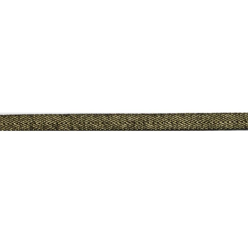 Тесьма 1 см киперная с люрексом 43-45м/рул, цв: черный/золотой люрекс