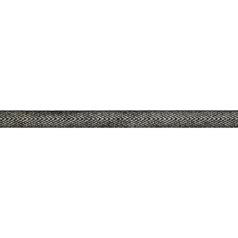 Тесьма 1 см киперная с люрексом 43-45м/рул, цв: черный/серебряный люрекс