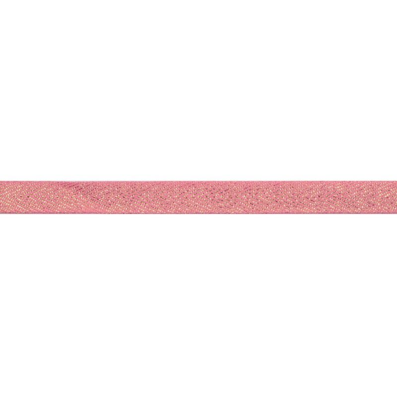 Тесьма 1 см киперная с люрексом 43-45м/рул, цв: розовый /золотой люрекс