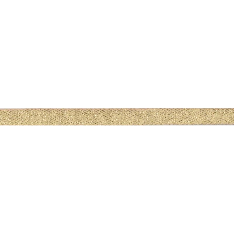 Тесьма 1 см киперная с люрексом 43-45м/рул, цв: персиковый/золотой люрекс