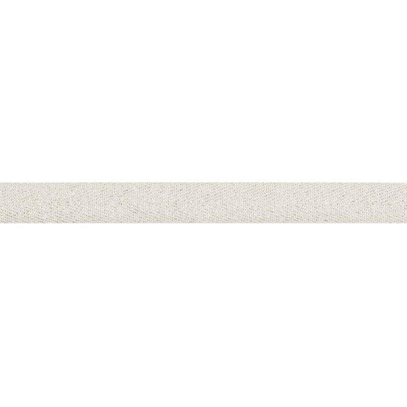 Тесьма 1,5см киперная с люрексом 43-45м/рул, цв: белый/серебряный люрекс