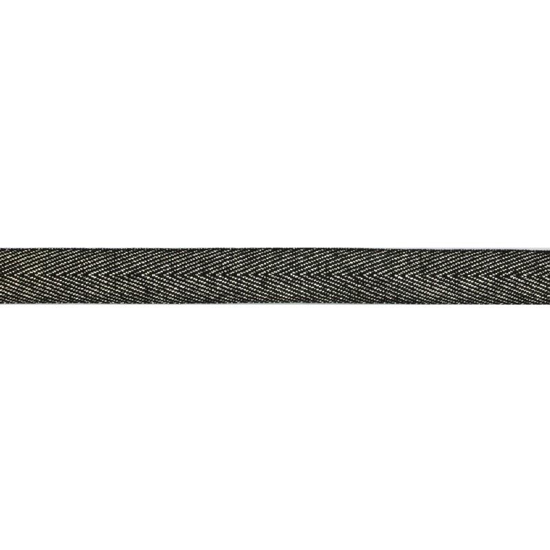 Тесьма 1,5см киперная с люрексом 43-45м/рул, цв: черный/серебряный люрекс