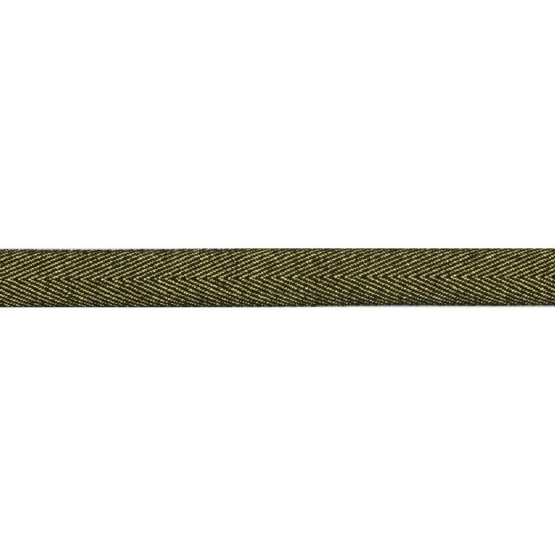 Тесьма 1,5см киперная с люрексом 43-45м/рул, цв: черный/золотой люрекс
