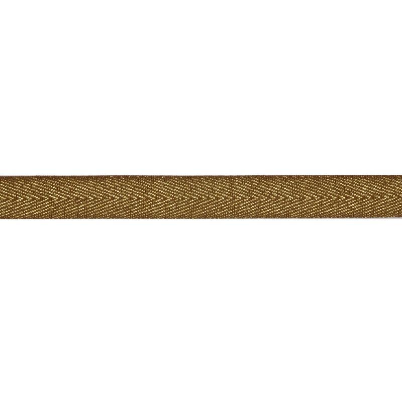 Тесьма 1,5см киперная с люрексом 43-45м/рул, цв: коричневый/золотой люрекс