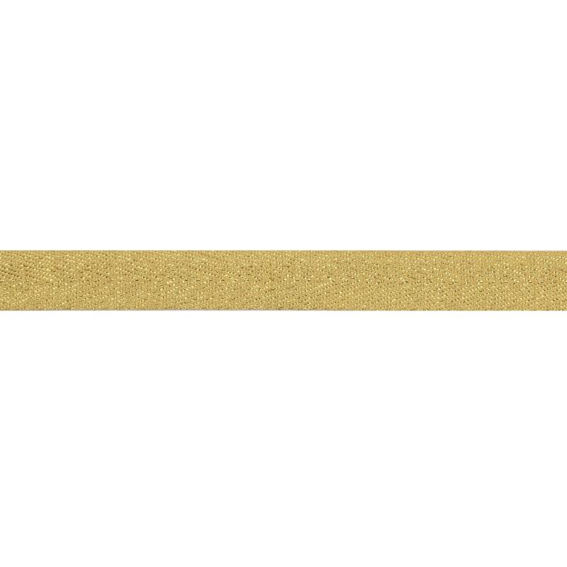 Тесьма 1,5см киперная с люрексом 43-45м/рул, цв: охра/золотой люрекс