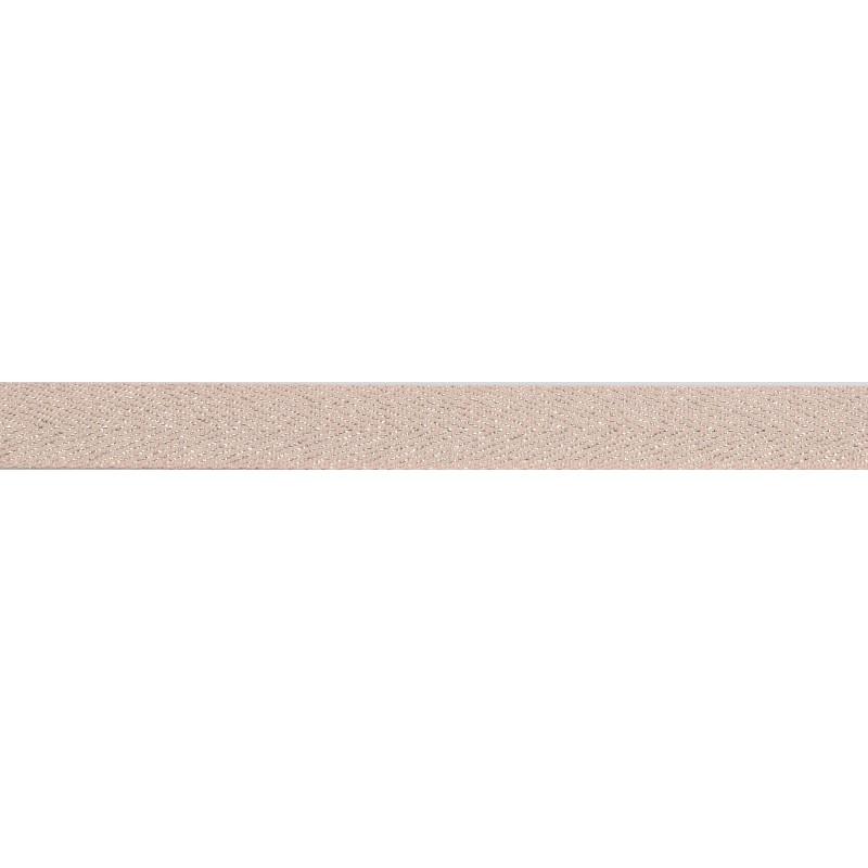 Тесьма 1,5см киперная с люрексом 43-45м/рул, цв: св.розовый /серебряный люрекс