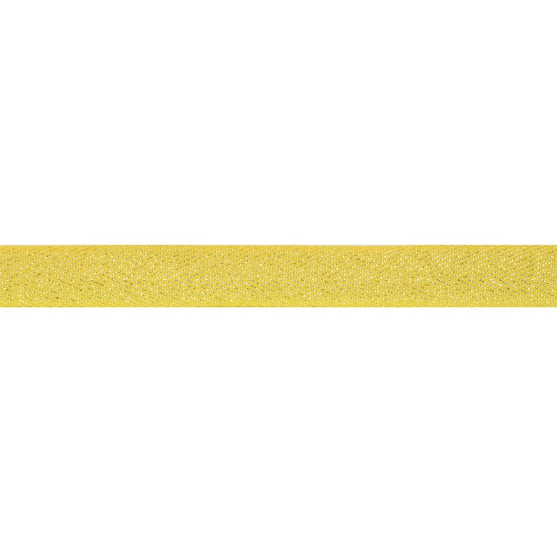 Тесьма 1,5см киперная с люрексом 43-45м/рул, цв: желтый/серебряный люрекс