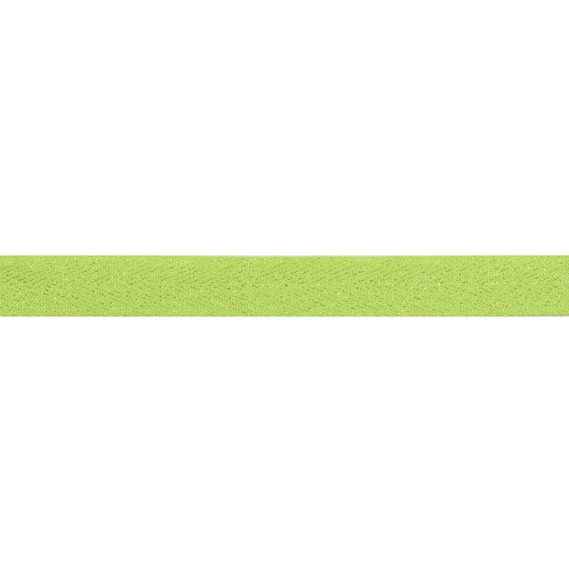 Тесьма 1,5см киперная с люрексом 43-45м/рул, цв: зеленый/серебряный люрекс