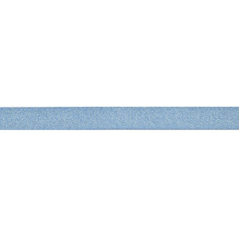 Тесьма 1,5см киперная с люрексом 43-45м/рул, цв: голубой/серебряный люрекс