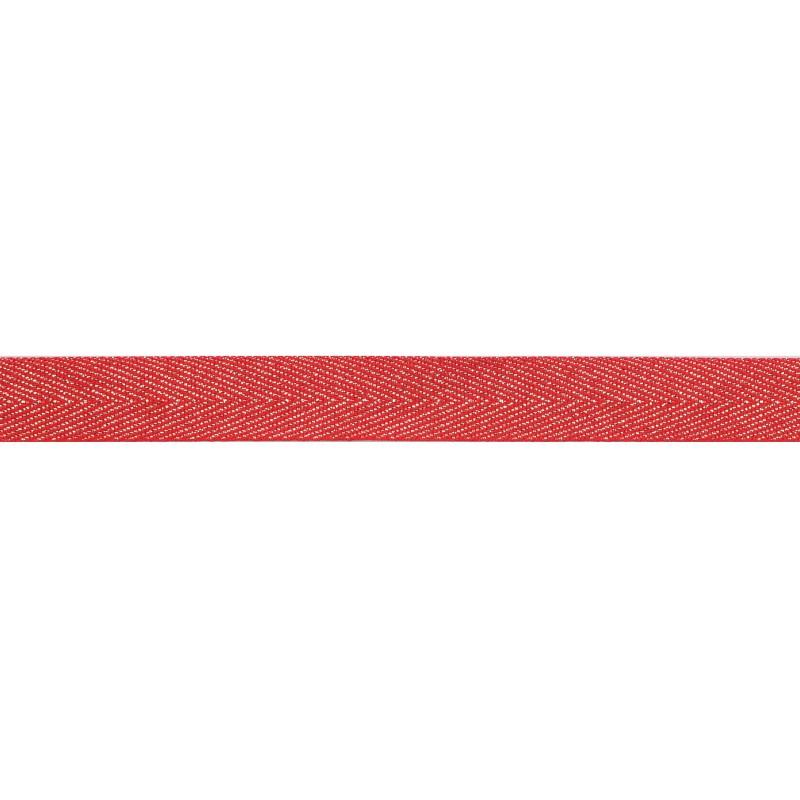 Тесьма 1,5см киперная с люрексом 43-45м/рул, цв: красный/серебряный люрекс