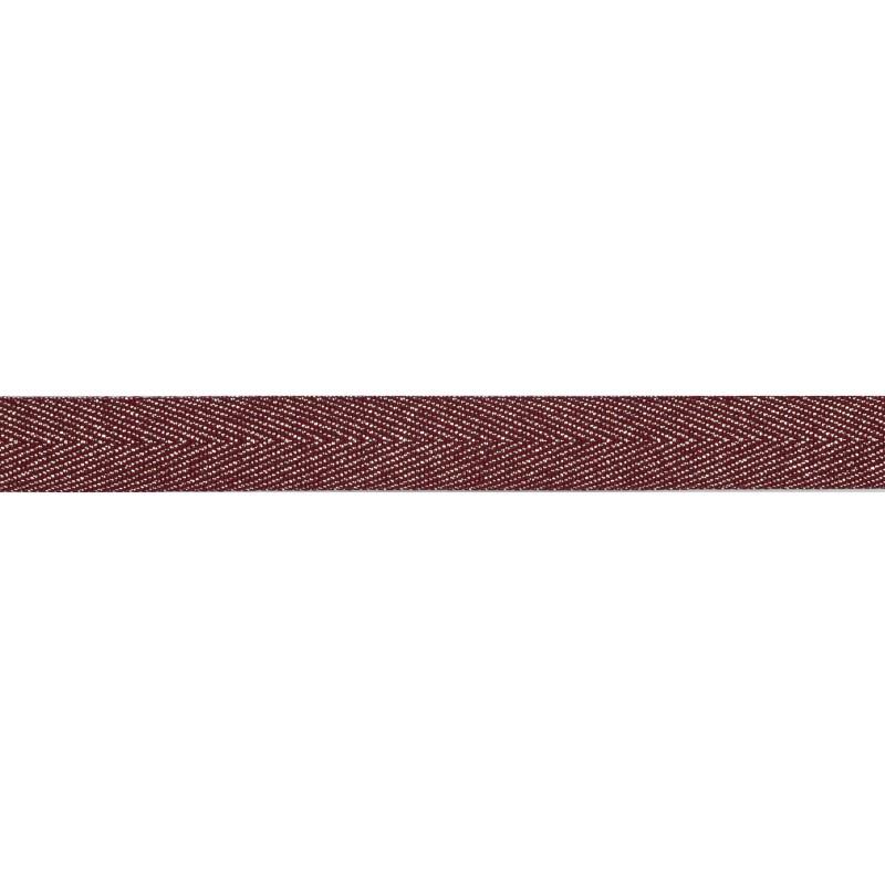 Тесьма 1,5см киперная с люрексом 43-45м/рул, цв: бордовый/серебряный люрекс