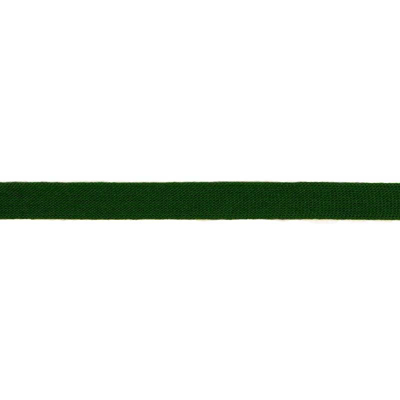 Тесьма трикотажная полиэстер 1см 88-90м/рулон, цв:т.зеленый