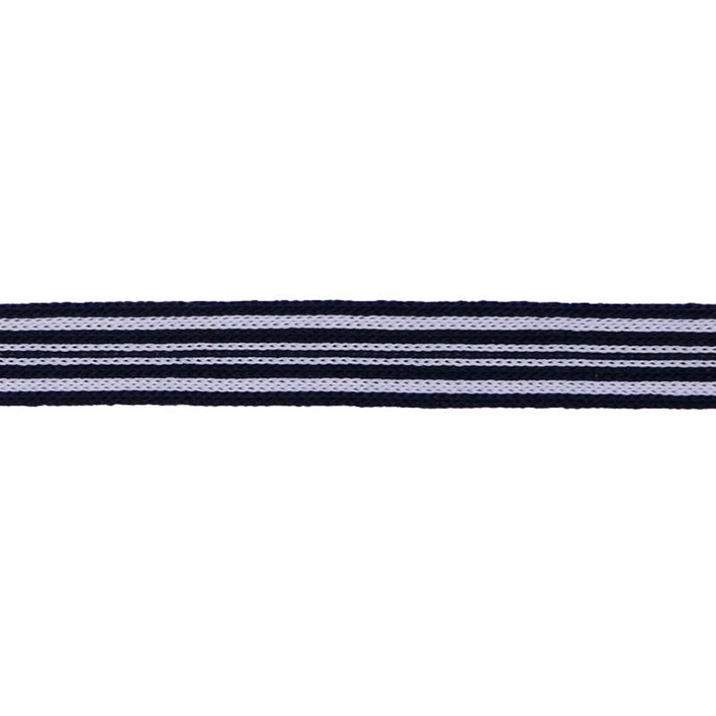 Тесьма трикотажная полиэстер 1см 88-90м/рулон, цв:черный/белый