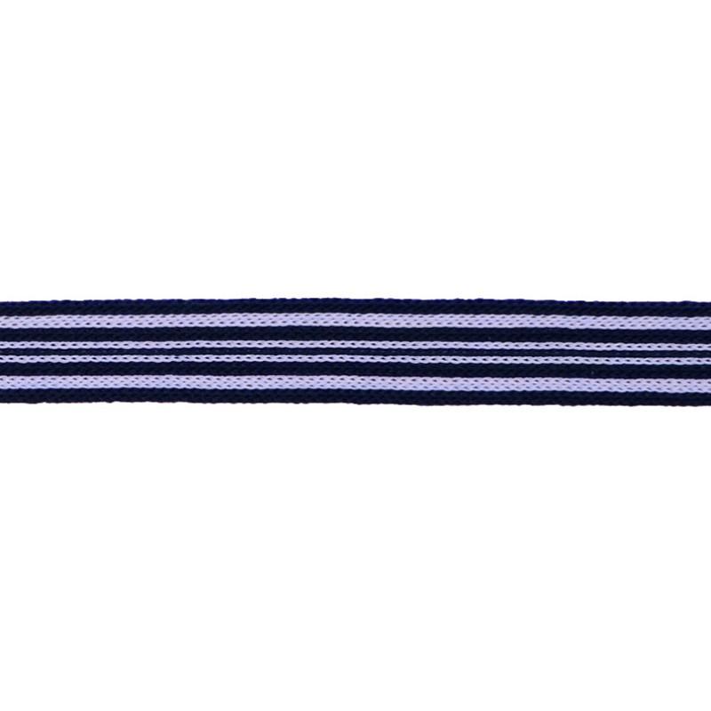 Тесьма трикотажная полиэстер 1см 88-90м/рулон, цв:т.синий/белый