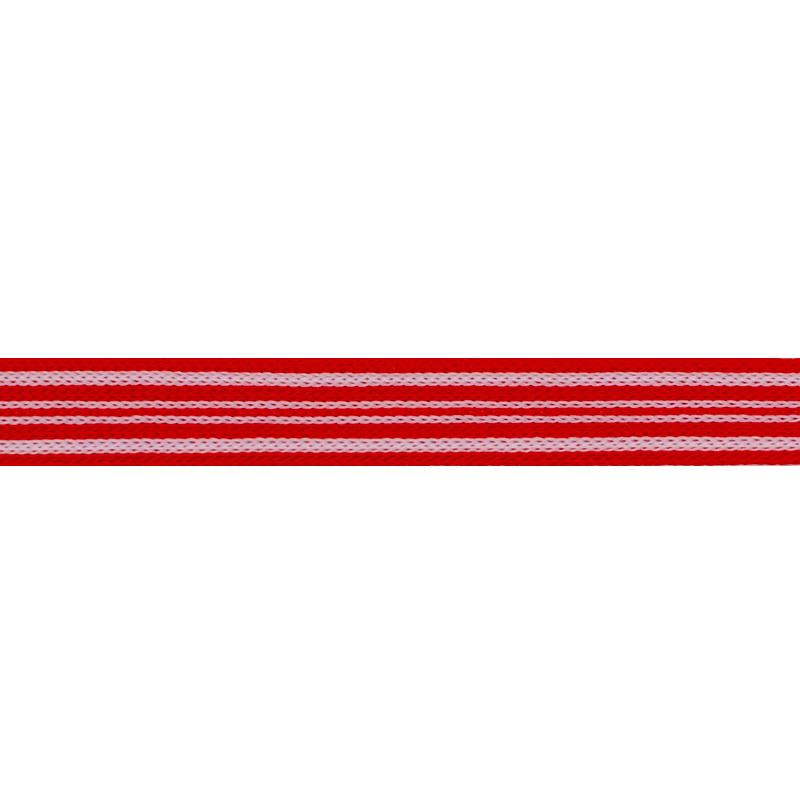 Тесьма трикотажная полиэстер 1см 88-90м/рулон, цв:красный/белый