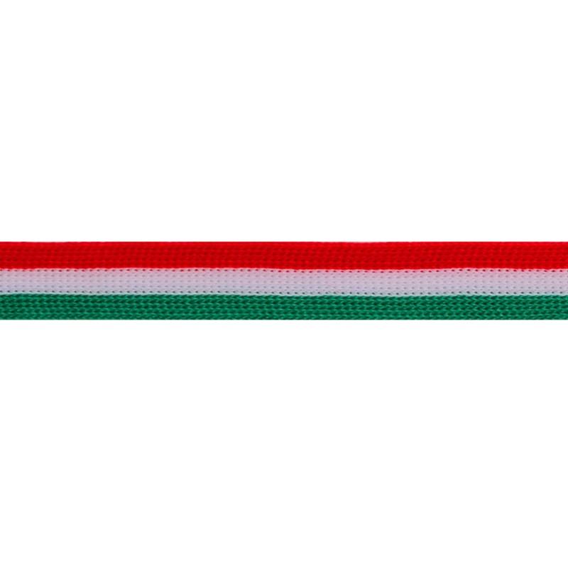 Тесьма трикотажная полиэстер 1см 88-90м/рулон, цв:красный/белый/зеленый