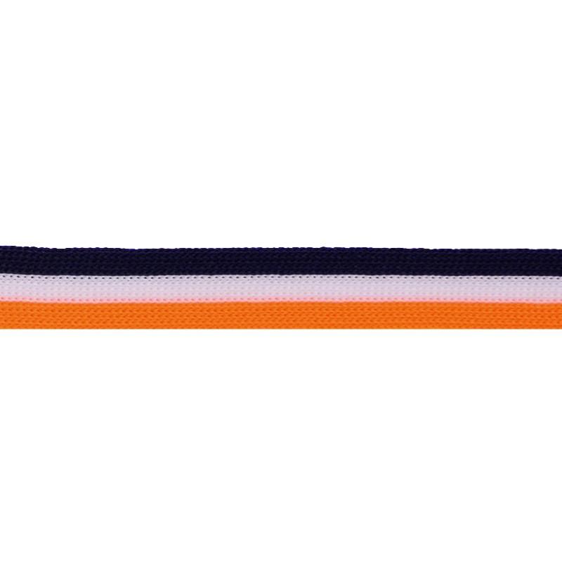 Тесьма трикотажная полиэстер 1см 88-90м/рулон, цв:т.синий/белый/оранжевый