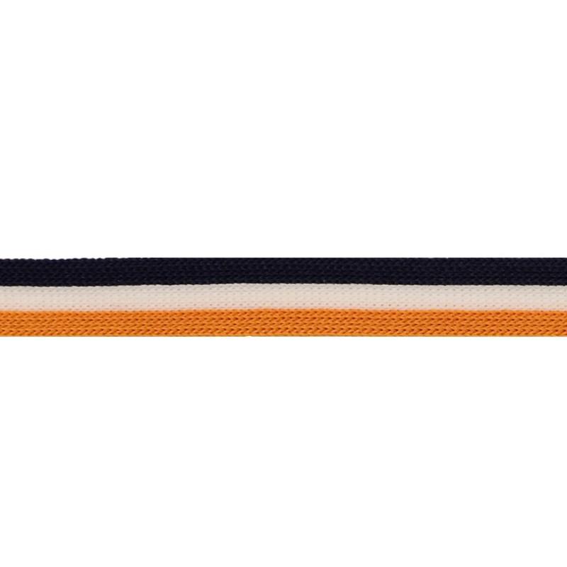 Тесьма трикотажная полиэстер 1см 88-90м/рулон, цв:т.синий/белый/горчичный