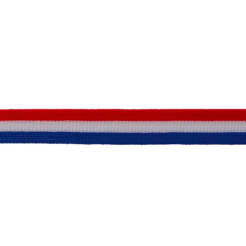 Тесьма трикотажная полиэстер 1см 88-90м/рулон, цв:красный/белый/синий