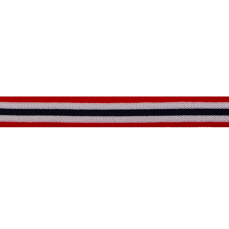 Тесьма трикотажная полиэстер 1см 88-90м/рулон, цв:красный/белый/т.синий