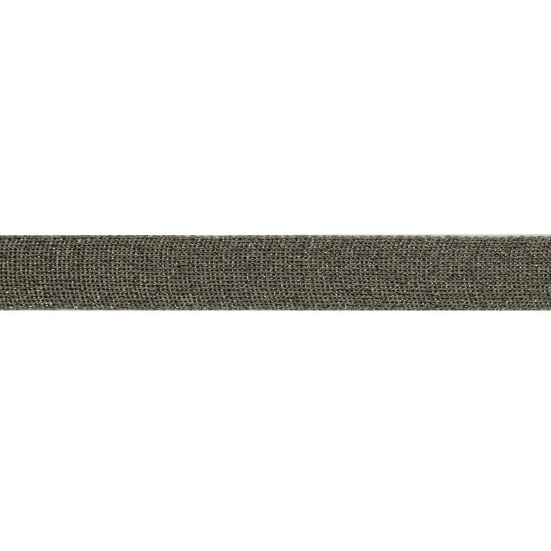 Тесьма люрекс 2см 88-90м/рулон, цв:т.серый/т.люрекс серебро