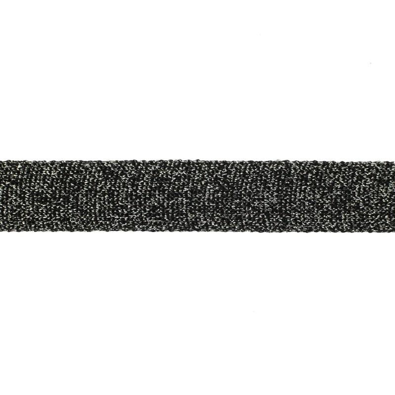 Тесьма люрекс 2см 88-90м/рулон, цв:графит/люрекс серебро