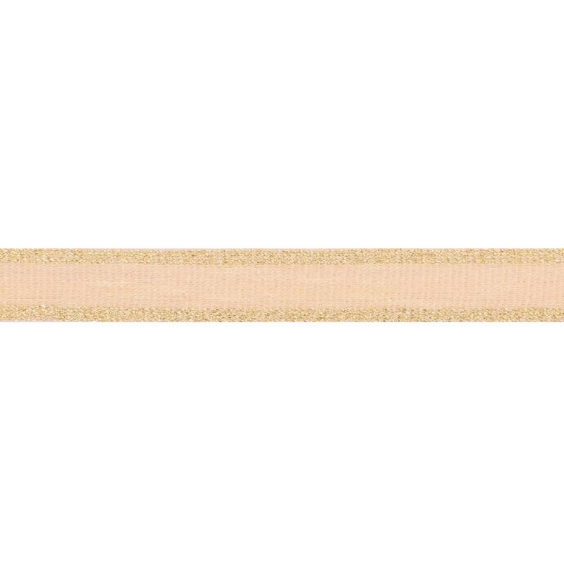 Тесьма вискоза 2 см, цв:бежевый/люрекс золото