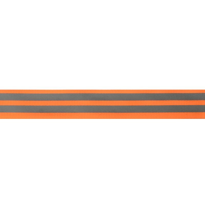 Тесьма светоотражающая репс 2,5см 43-44м/рулон,цв:оранжевый неон