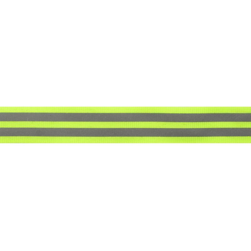 Тесьма светоотражающая репс 2,5см 43-44м/рулон,цв:салатовый неон