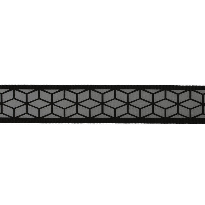 Тесьма светоотражающая репс с декоративным принтом 2,5см 42-44м/рулон,цв:черный