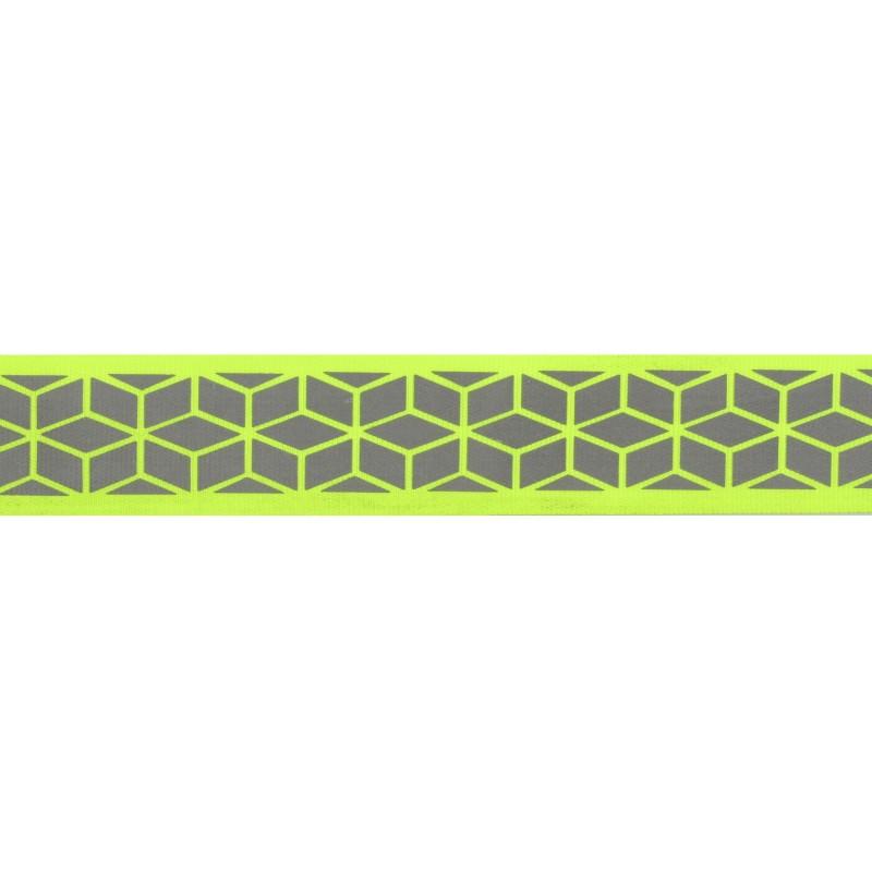 Тесьма светоотражающая репс с декоративным принтом 2,5см 42-44м/рулон,цв:салатовый неон