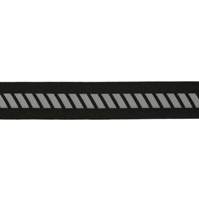 Тесьма светоотражающая репс с декоративным принтом 2см 42-44м/рулон,цв:черный
