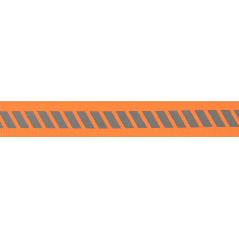 Тесьма светоотражающая репс с декоративным принтом 2см 42-44м/рулон,цв:оранжевый неон
