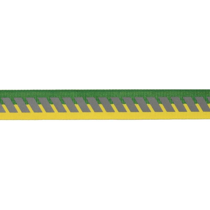 Тесьма светоотражающая репс с декоративным принтом 2см 42-44м/рулон,цв:желтый/зеленый