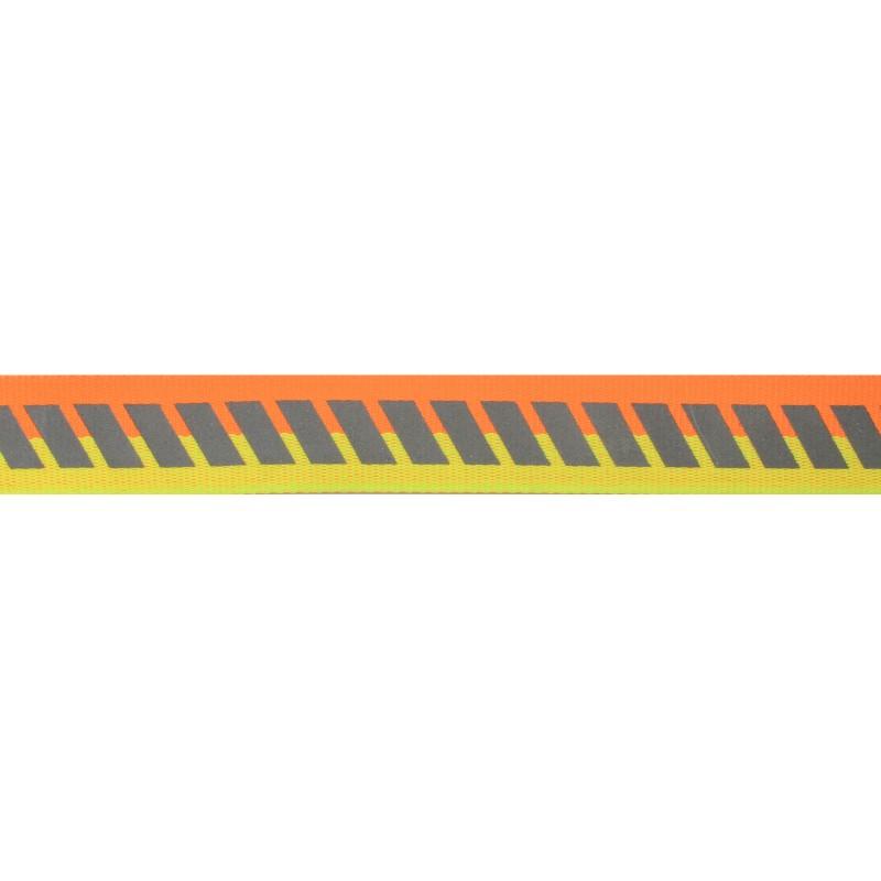 Тесьма светоотражающая репс с декоративным принтом 2см 42-44м/рулон,цв:оранжевый неон/желтый