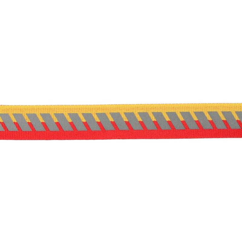 Тесьма светоотражающая репс с декоративным принтом 2см 42-44м/рулон,цв:красный/желтый