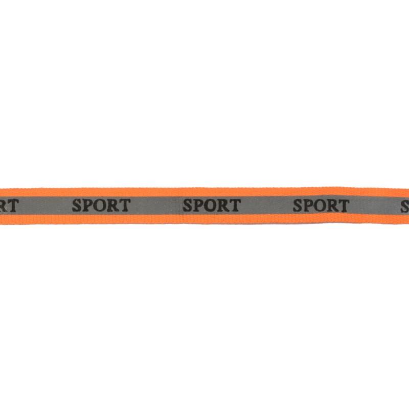 Тесьма светоотражающая репс с принтом SPORT 1см 42-44м/рулон,цв:оранжевый неон