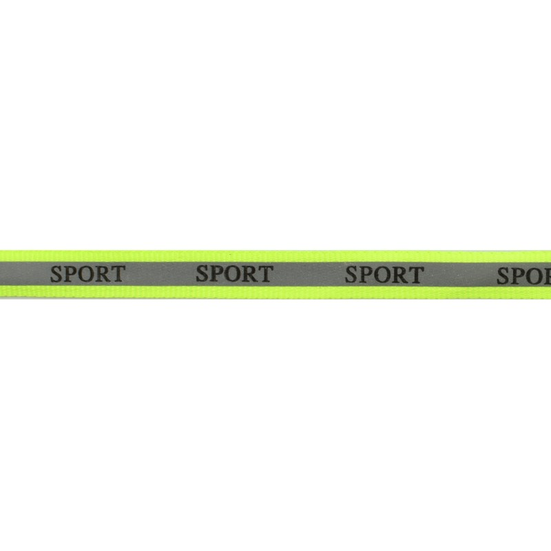 Тесьма светоотражающая репс с принтом SPORT 1см 42-44м/рулон,цв:салатовый неон