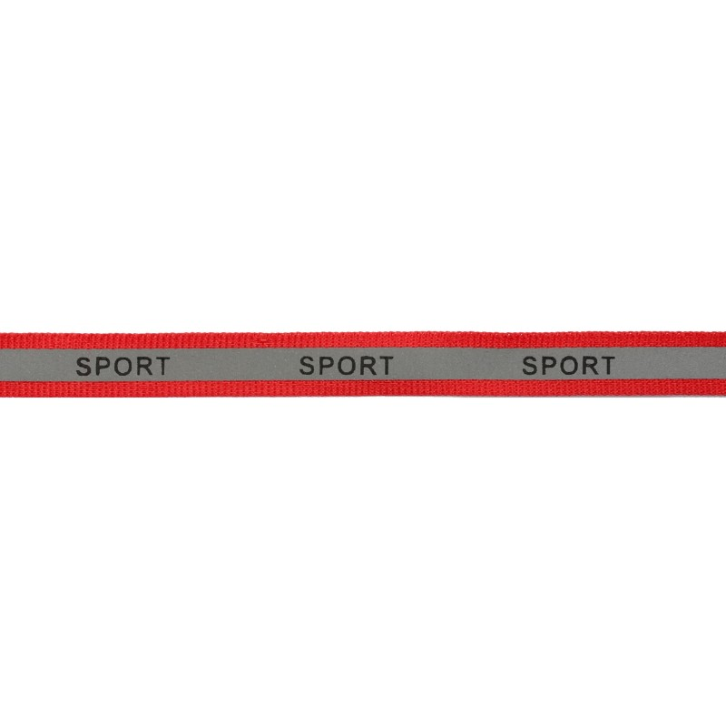 Тесьма светоотражающая репс с принтом SPORT 1см 42-44м/рулон,цв:красный