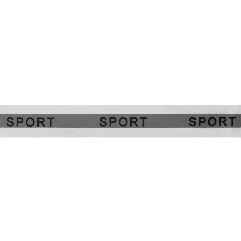 Тесьма светоотражающая репс с принтом SPORT 2см 42-44м/рулон,цв:белый