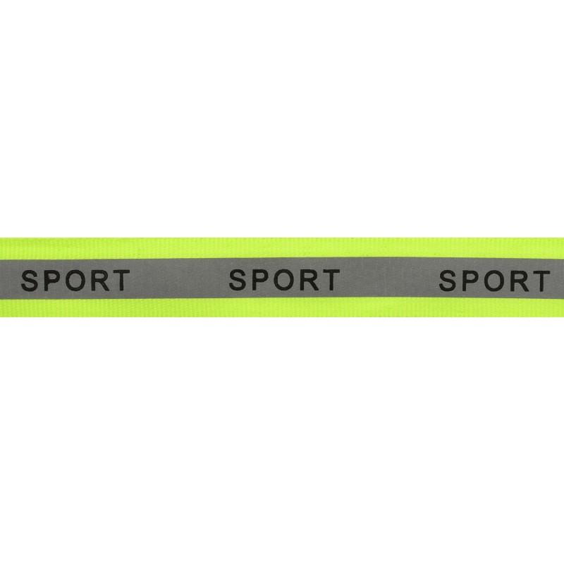 Тесьма светоотражающая репс с принтом SPORT 2см 42-44м/рулон,цв:салатовый неон