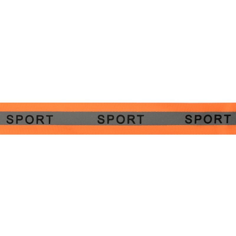 Тесьма светоотражающая репс с принтом SPORT 2см 42-44м/рулон,цв:оранжевый неон