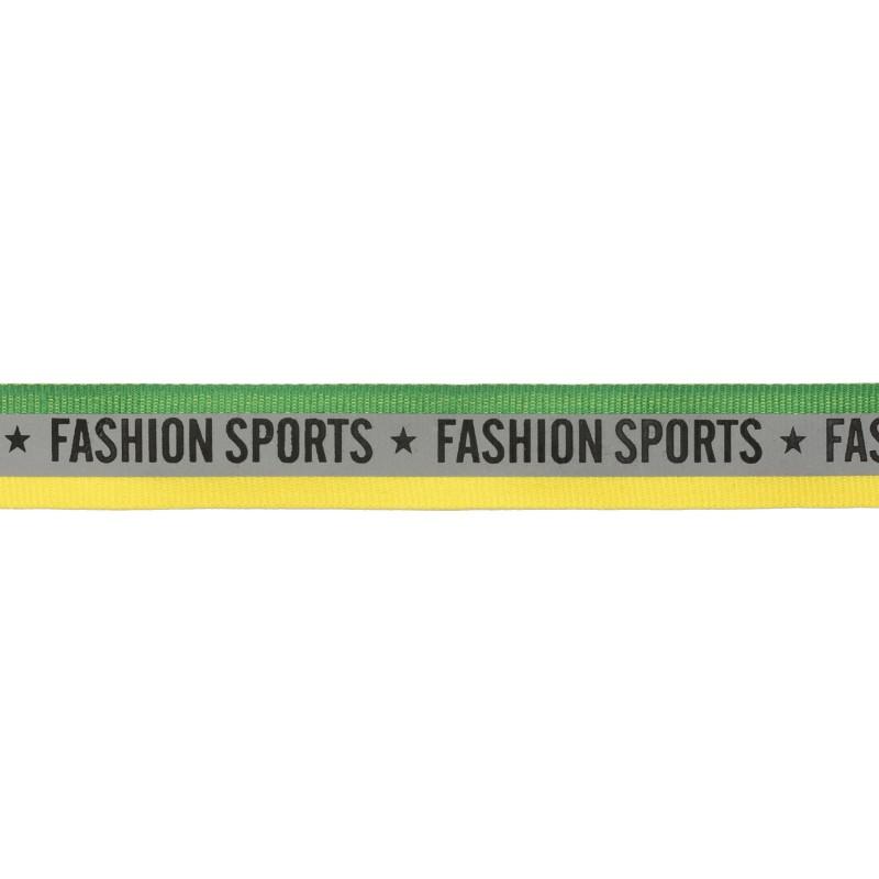 Тесьма светоотражающая репс двухцветная с принтом FASHION SPORT 2см 42-44м/рулон, цв:зеленый/желтый