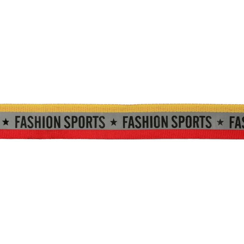 Тесьма светоотражающая репс двухцветная с принтом FASHION SPORT 2см 42-44м/рулон, цв:желтый/красный